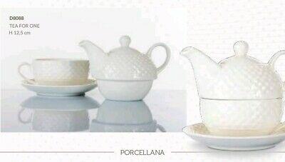 Confezione regalo teiera con tazza in porcellana bianca Morena Design  D8088
