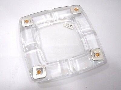 Posacenere in vetro con applicazioni laminate argento e Swarovski ambra