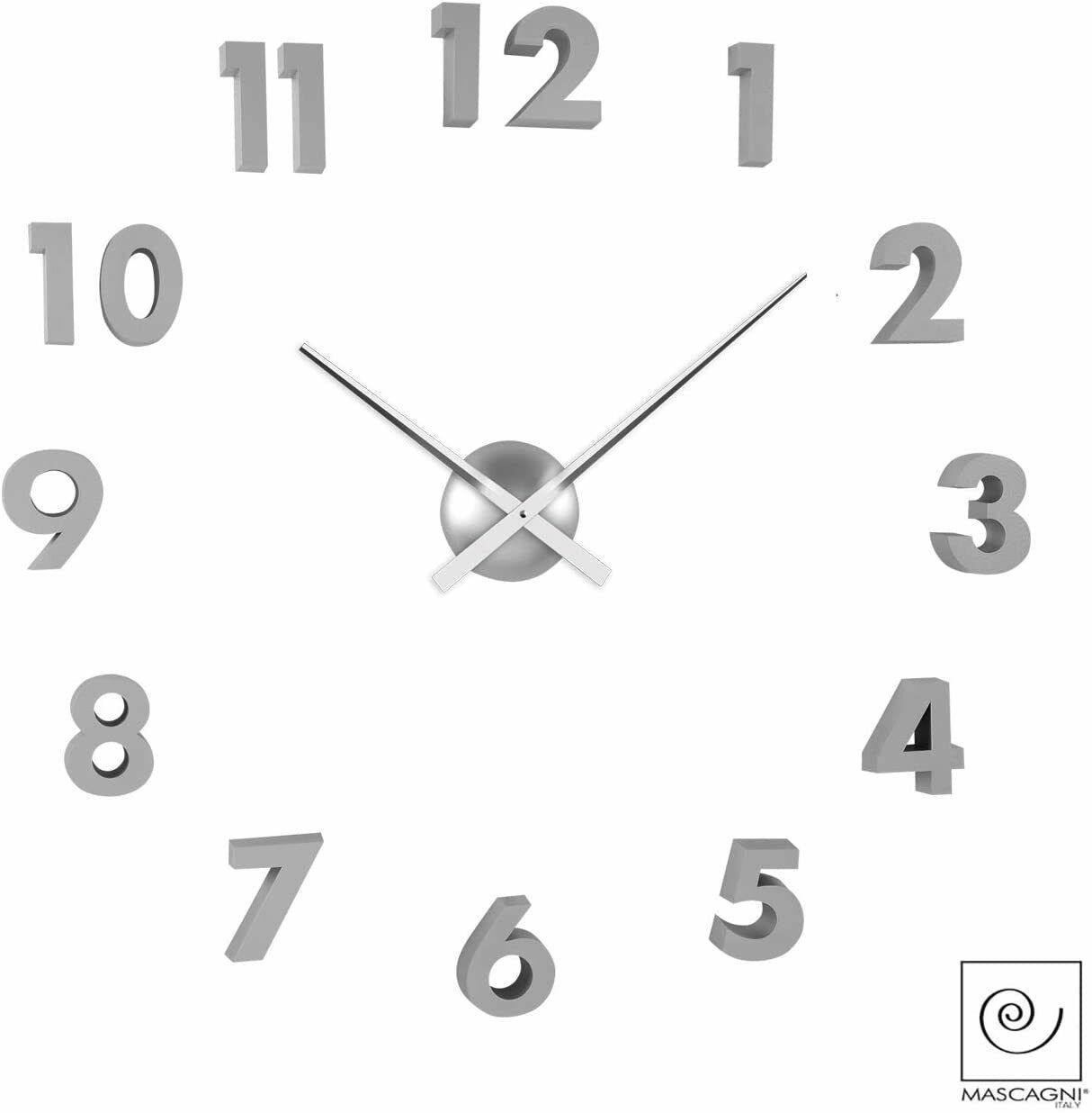 Mascagni Orologio da parete con numeri 3D in argento diametro 60 cm M580