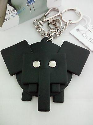 Portachiavi Le Briciole con Elefante in pelle nero cod. SX204