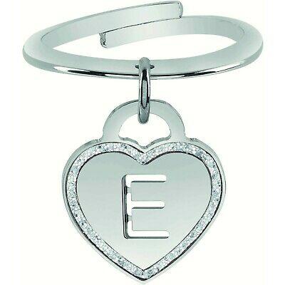 Anello donna rigido con iniziale pendente lettera E Bliss Love letters 20081393