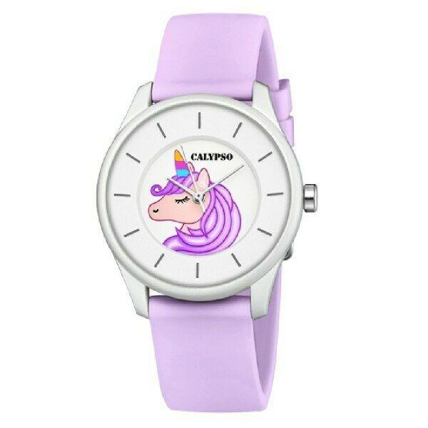 Orologio analogico con unicorno Calypso con cinturino viola K5733/B