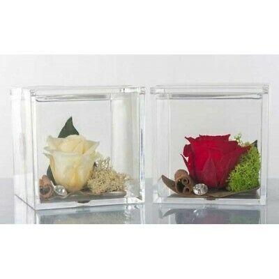 Scatoline plexiglass con rose stabilizzate Cuorematto Cuor di rosa D5754