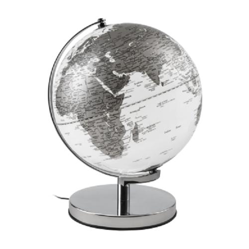 Mappamondo Globo con illuminazione Mascagni bianco/argento diametro 25 cm O1547