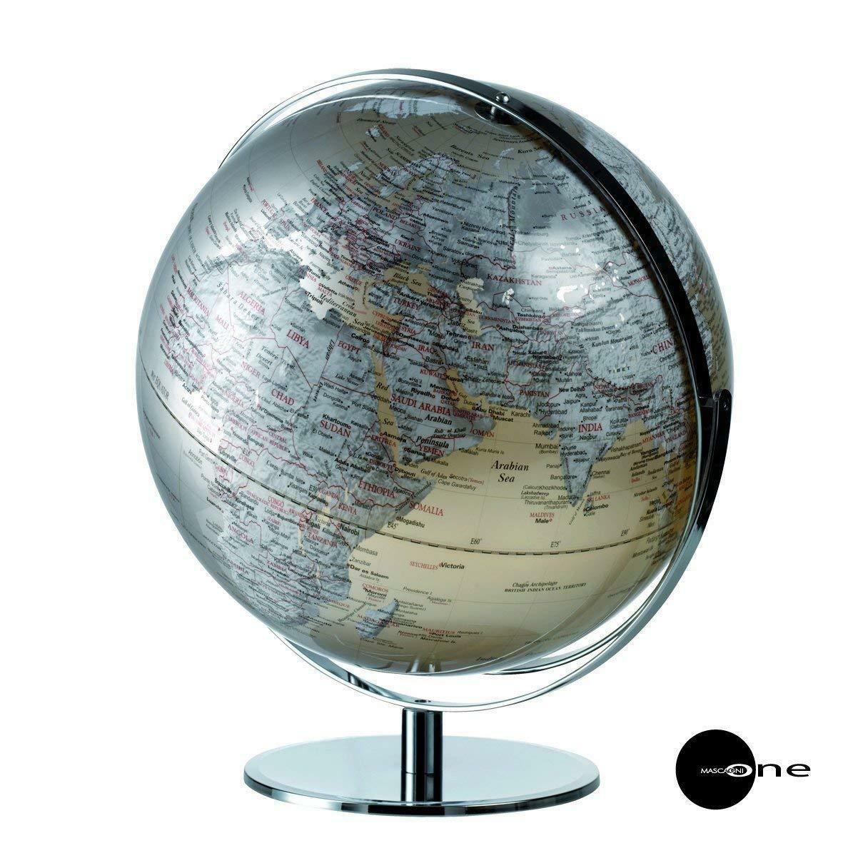 Mappamondo Mascagni in plastica con catene montuose sollievo globo 0614