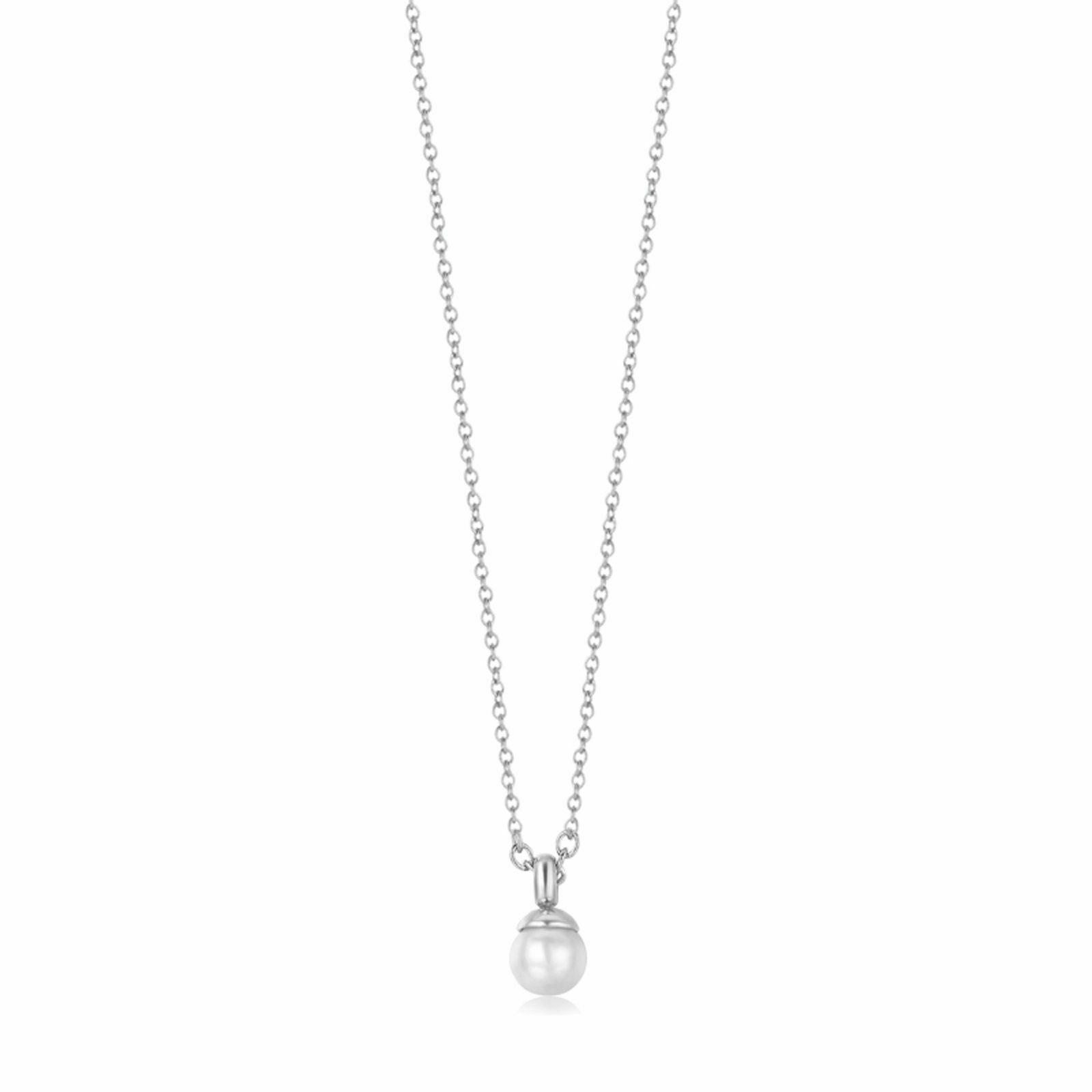Collana donna in acciaio con ciondolo perla  Luca Barra CK1292