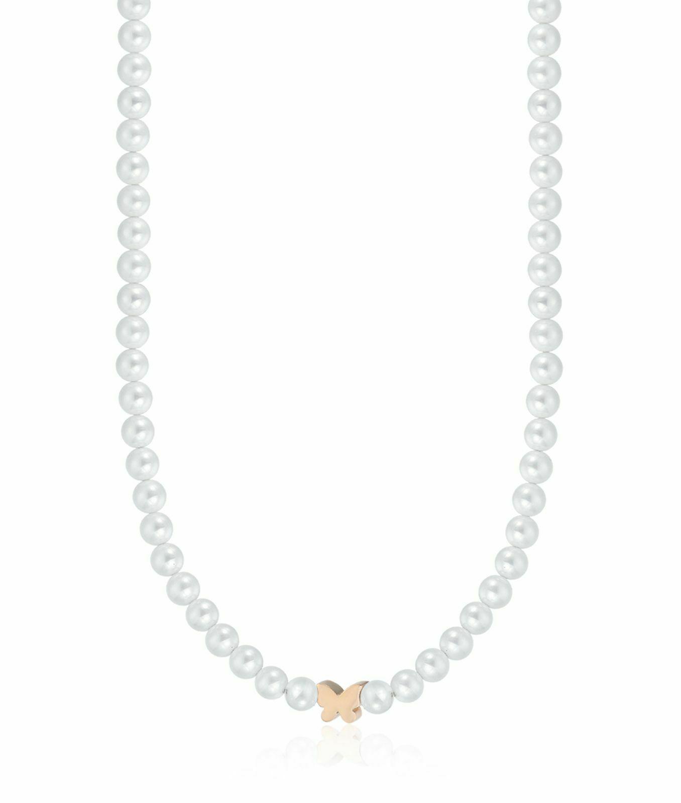 Collana donna in acciaio con perle e farfalla rosè Luca Barra CK1395