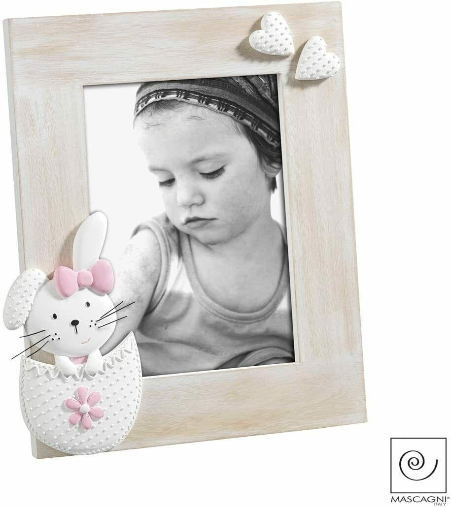 Cornice portafoto Mascagni coniglietto in rilievo rosa idea regalo bimba A837