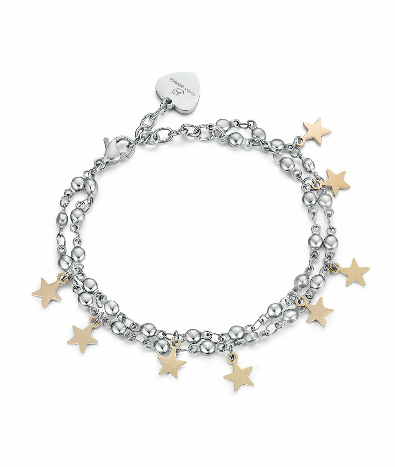 Bracciale donna Luca Barra in acciaio con stelle dorate  BK1843
