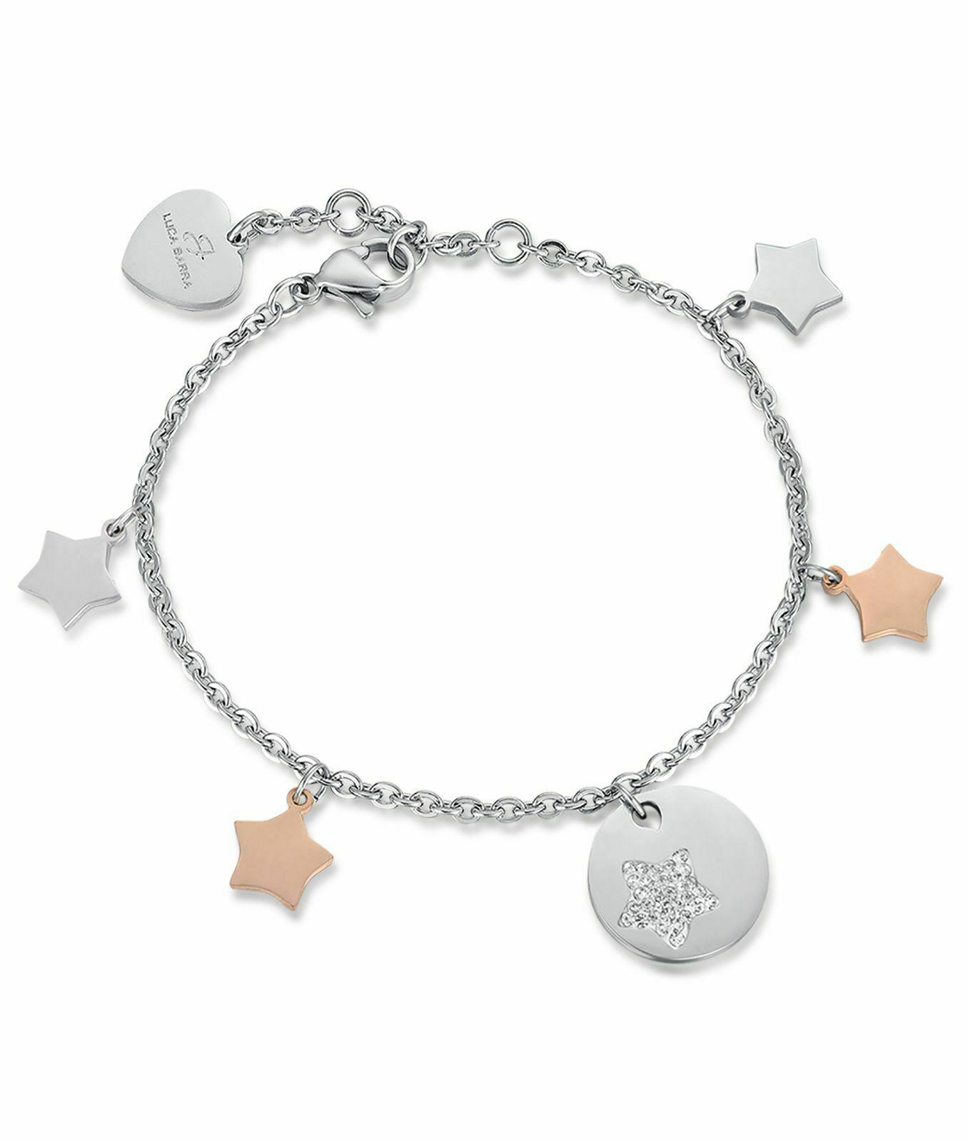 Bracciale donna Luca Barra in acciaio con ciondoli stelle BK1803