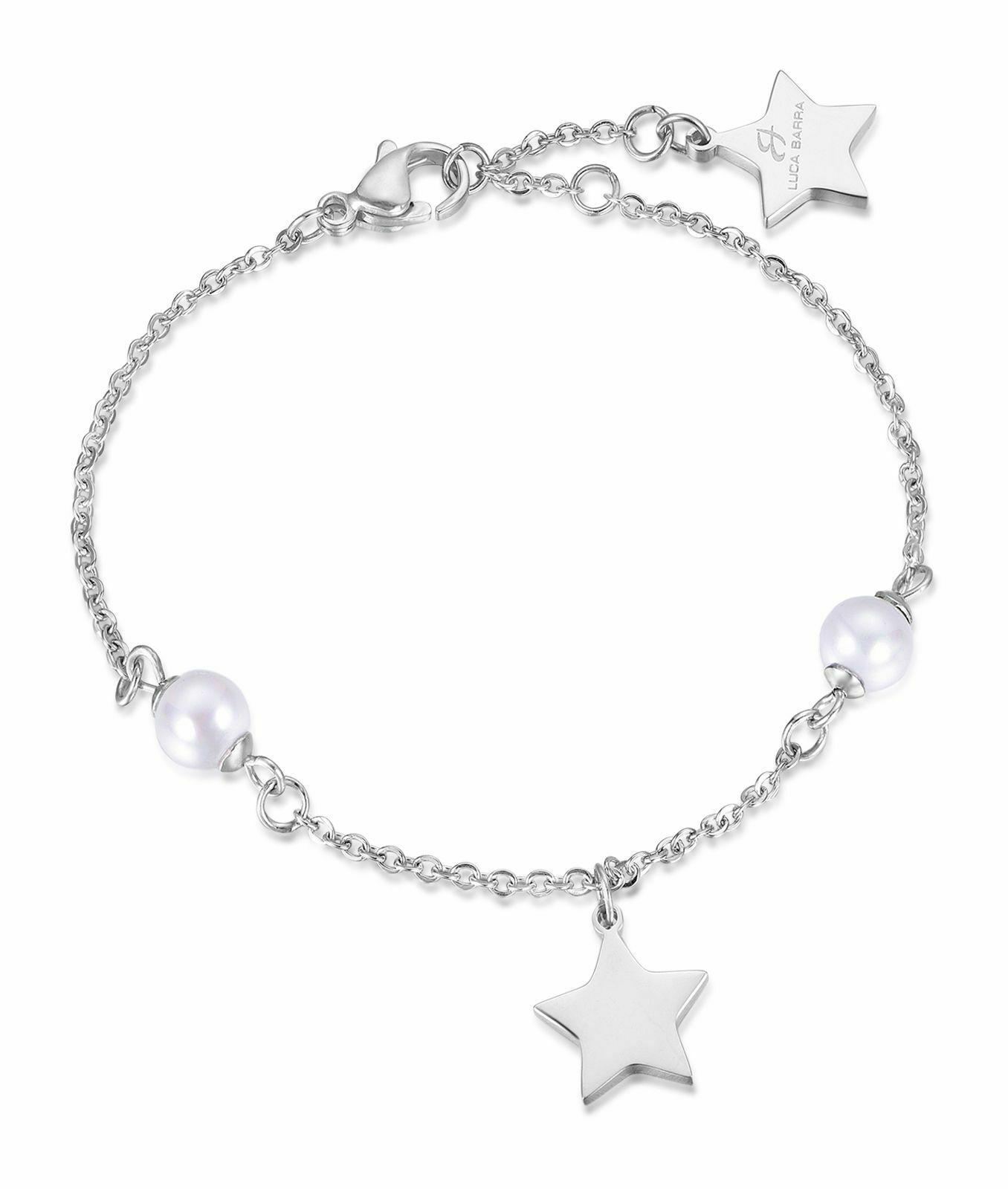 Bracciale donna Luca Barra in acciaio con stelle e perle bianche BK1687