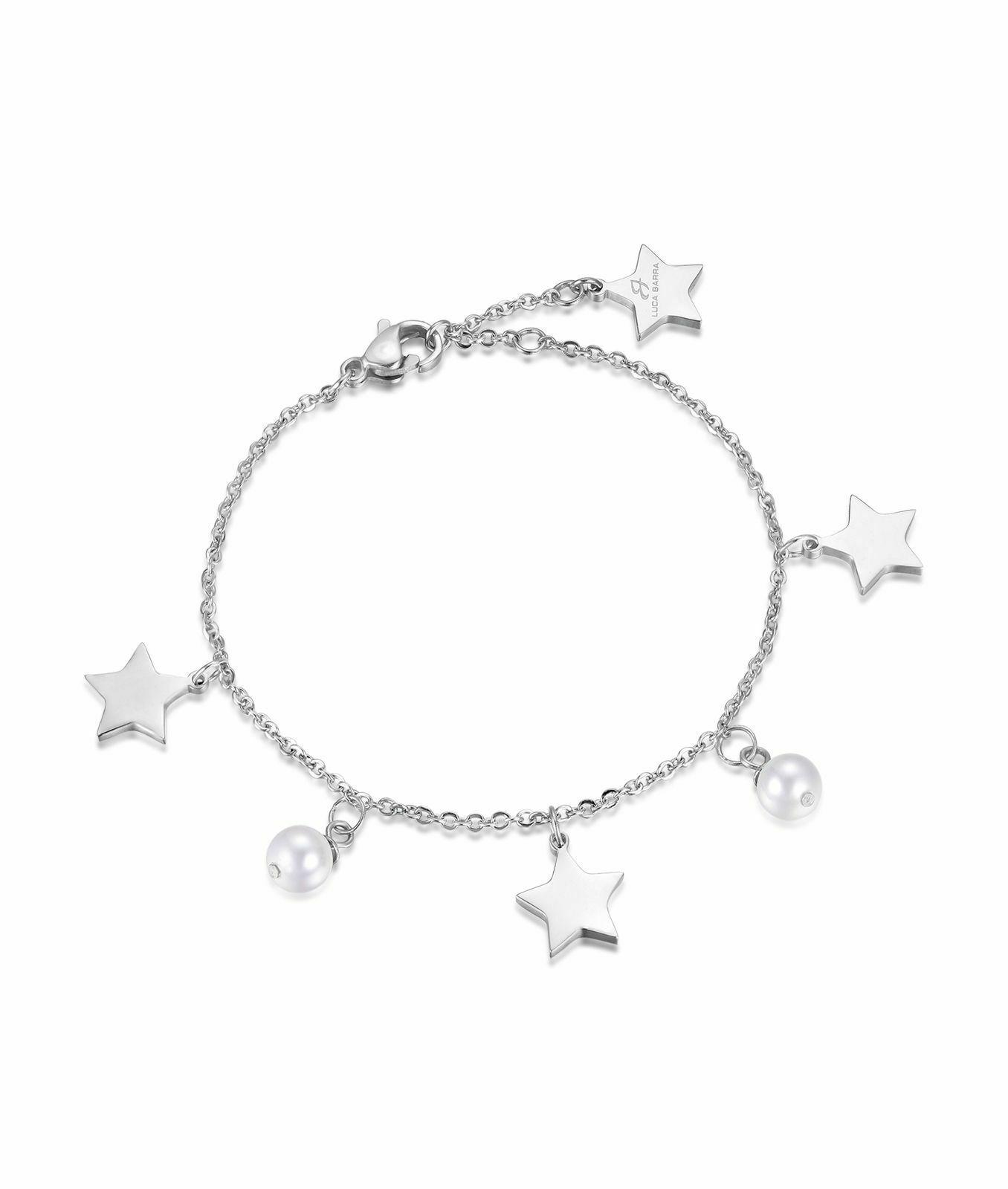 Bracciale donna Luca Barra con ciondoli con stelle e perle bianche  BK1685