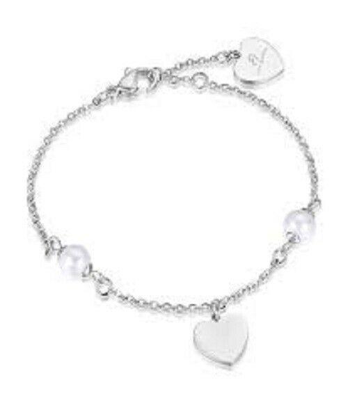 Bracciale donna Luca Barra con ciondoli cuore e perle BK1688