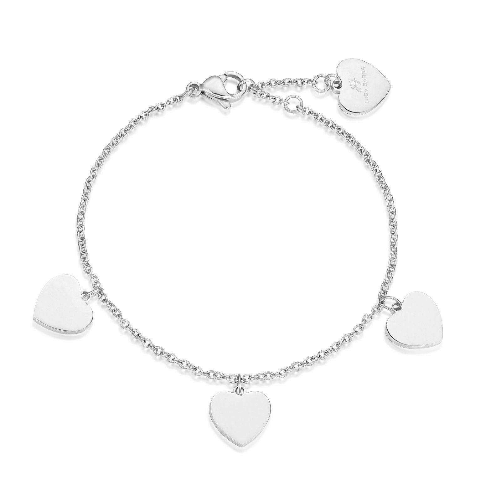 Bracciale donna Luca Barra con ciondoli cuore in acciaio BK1660