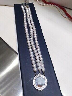 Bracciale con triplo filo perle e Cameo Inciso a Mano chiusura in argento 02/20