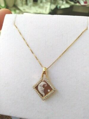 Collana in argento 925 con ciondolo Cameo Inciso a Mano e zirconi 06/20