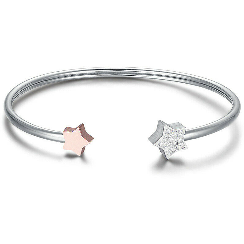 Bracciale donna rigido in acciaio con stelle rosè Luca Barra cod. BK1878
