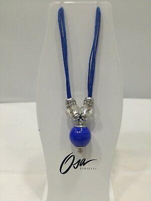 Collana donna Osa cod. 70201 blu con ciondolo perla di murano