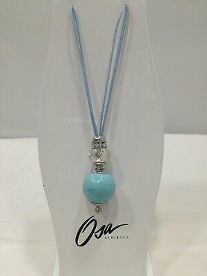 Collana donna Osa cod. 70204 celeste con ciondolo perla di murano