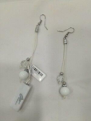 Orecchini pendenti donna Osa cod. 70205 bianchi con ciondolo perla di murano
