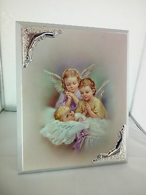Icona con Angeli  in legno con applicazioni laminate argento