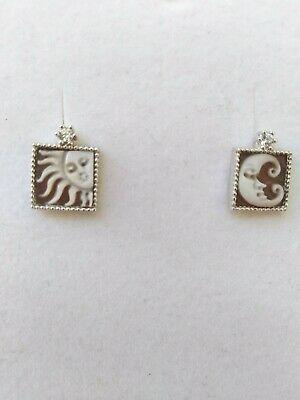 Orecchini in argento 925 con Cameo Inciso a Mano e zirconi Sole e luna 07/20