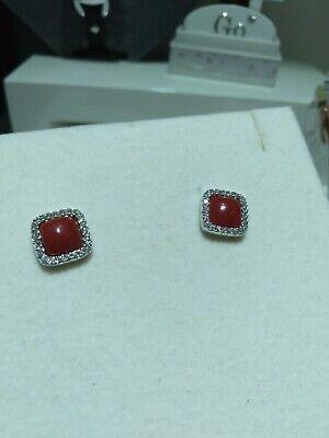 Orecchini in argento 925 con corallo rosso e zirconi bianchi 13/20
