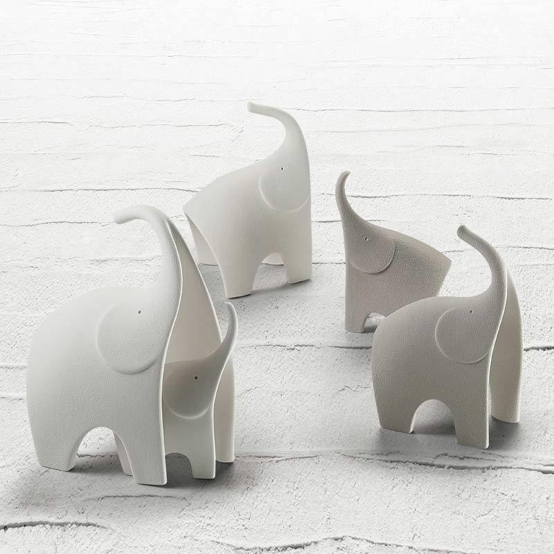Scultura  Design Elefante stilizzato in grès porcellanato Lineasette N857A Made in Italy