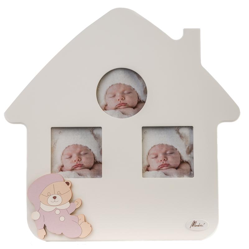 Portafoto multiplo bimba in legno Orso Paco rosa Mendozzi 333164 personalizzabile