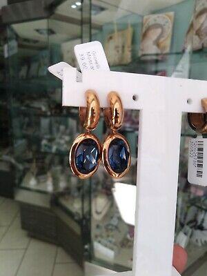 Orecchini pendenti in acciaio con galvanica rosè Qudo Jewerly e Swarovski blu