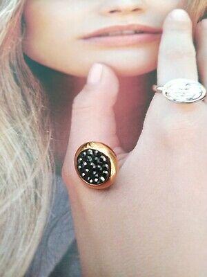 Qudo Jewerly  pietra per anello Top galant 13 mm nero