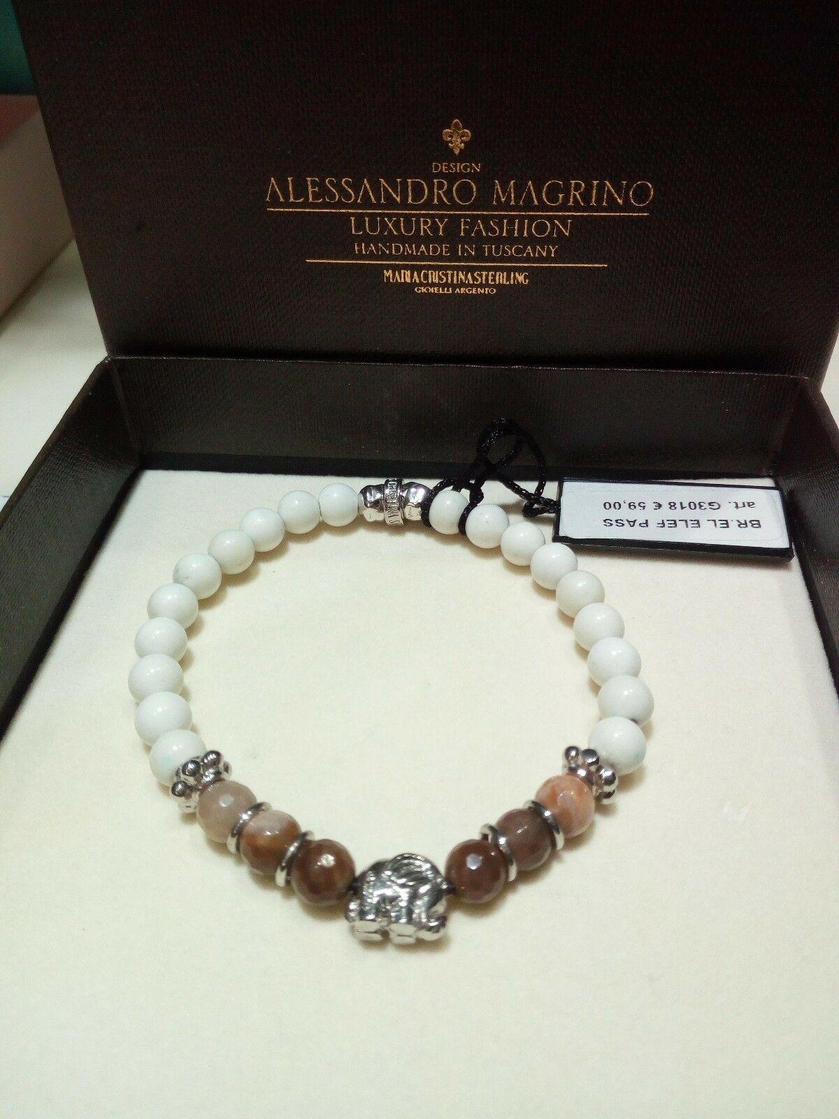 Bracciale Maria Cristina Sterling Elefante Argento Aulite bianca e Ebano G3018