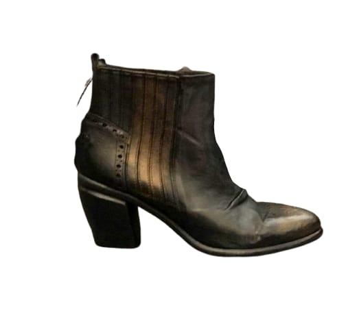 Stivaletto donna in pelle sfumata fondo cuoio | Colore nero/bronzo | manifattura artigianale | made in Italy