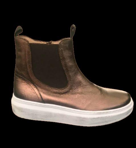 Stivaletto Sneaker donna in pelle senza tacco | colore bronzo