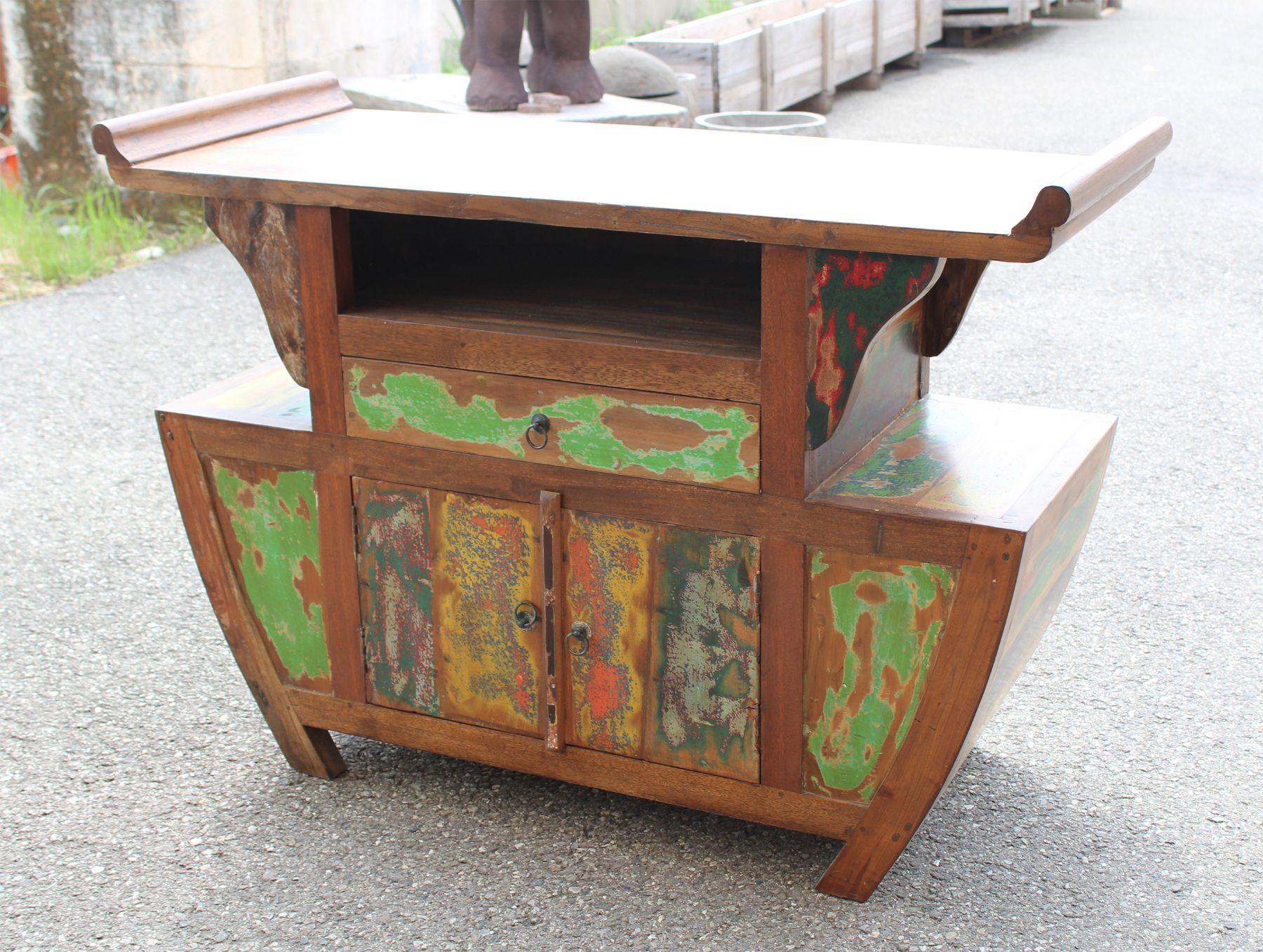 Porta tv alto Japan in legno di teak indonesiano