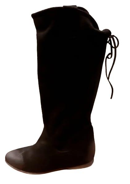 Stivale donna in pelle scamosciata   colore nero   fondo cuoio   made in Italy