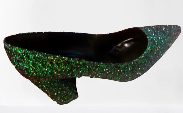 Scarpa Decolté tacco largo con glitter | colore verde| made in Italy