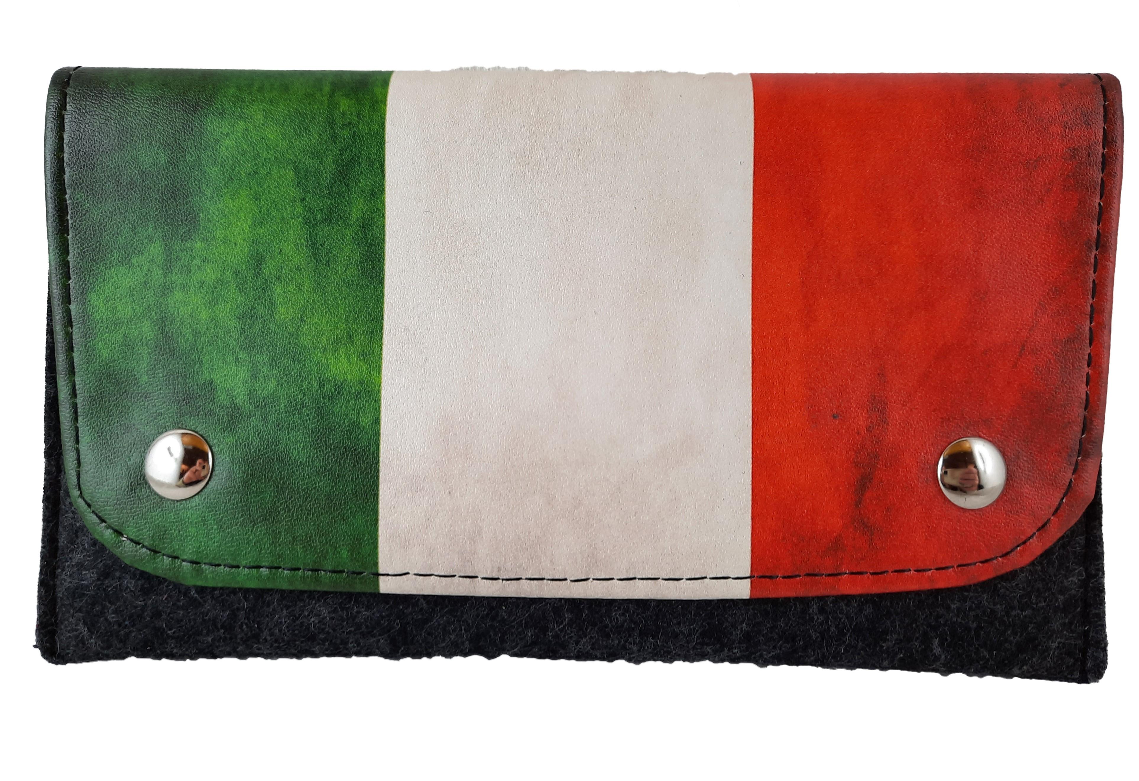 611-827 PORTATABACCO IN PELLE E FELTRO ITALIA
