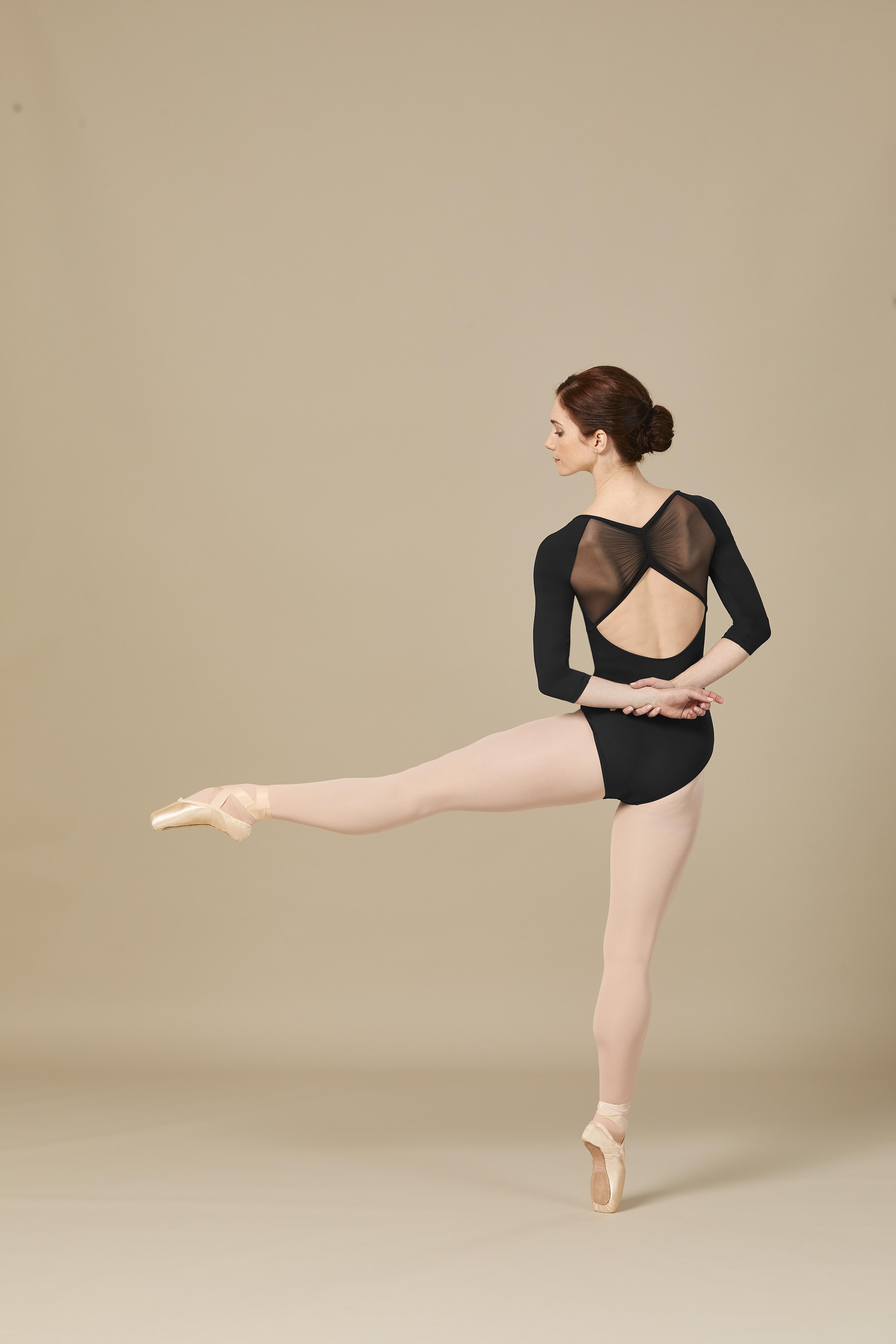 Nuova collezione Bloch autunno inverno 2020-21 : Body manica 3/4 con retina drappeggiata