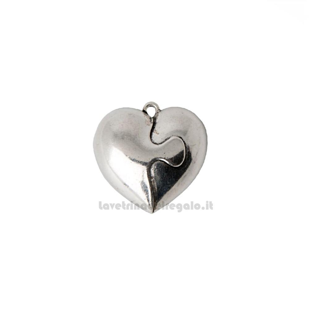 Ciondolo Cuore puzzle in metallo 3.5 cm - Decorazioni bomboniere matrimonio