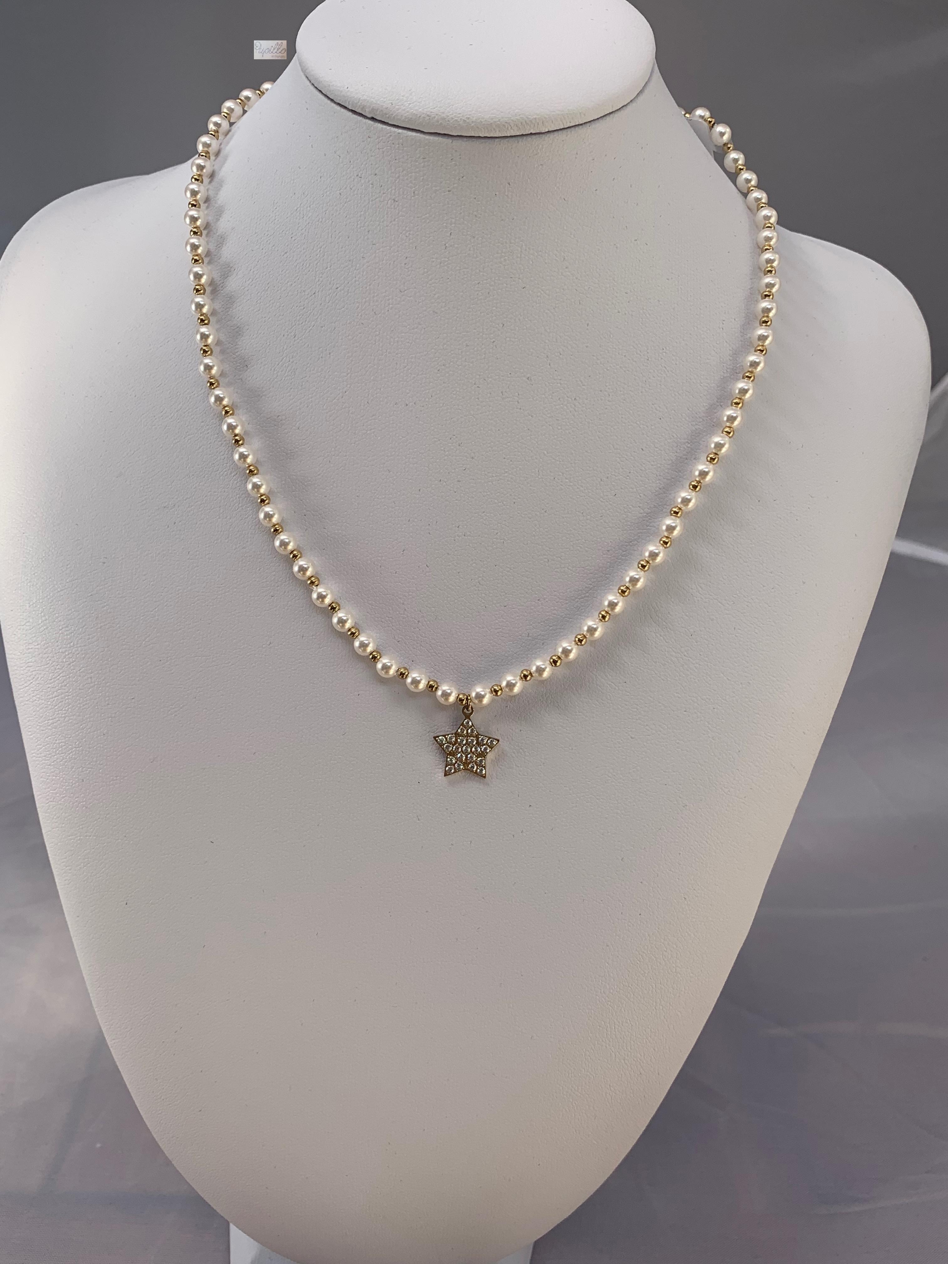collana  perle vetro acciaio stella zirconi
