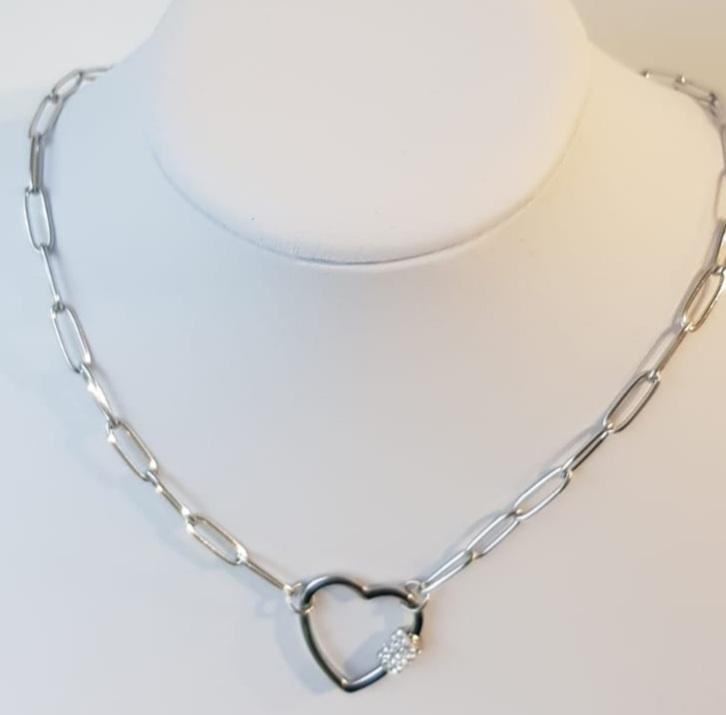 collana  acciaio catena cuore chiusura strass