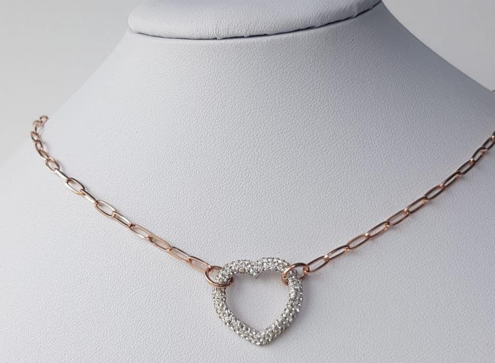 collana  acciaio rosato  cuore  strass