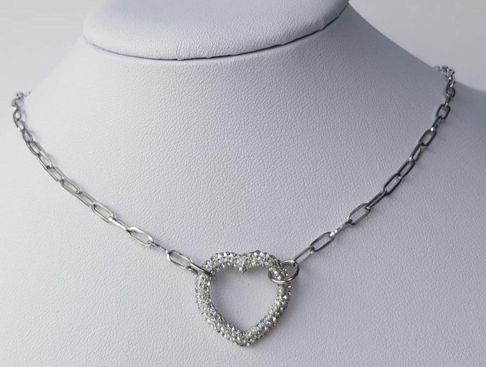 collana acciaio argentato cuore strass