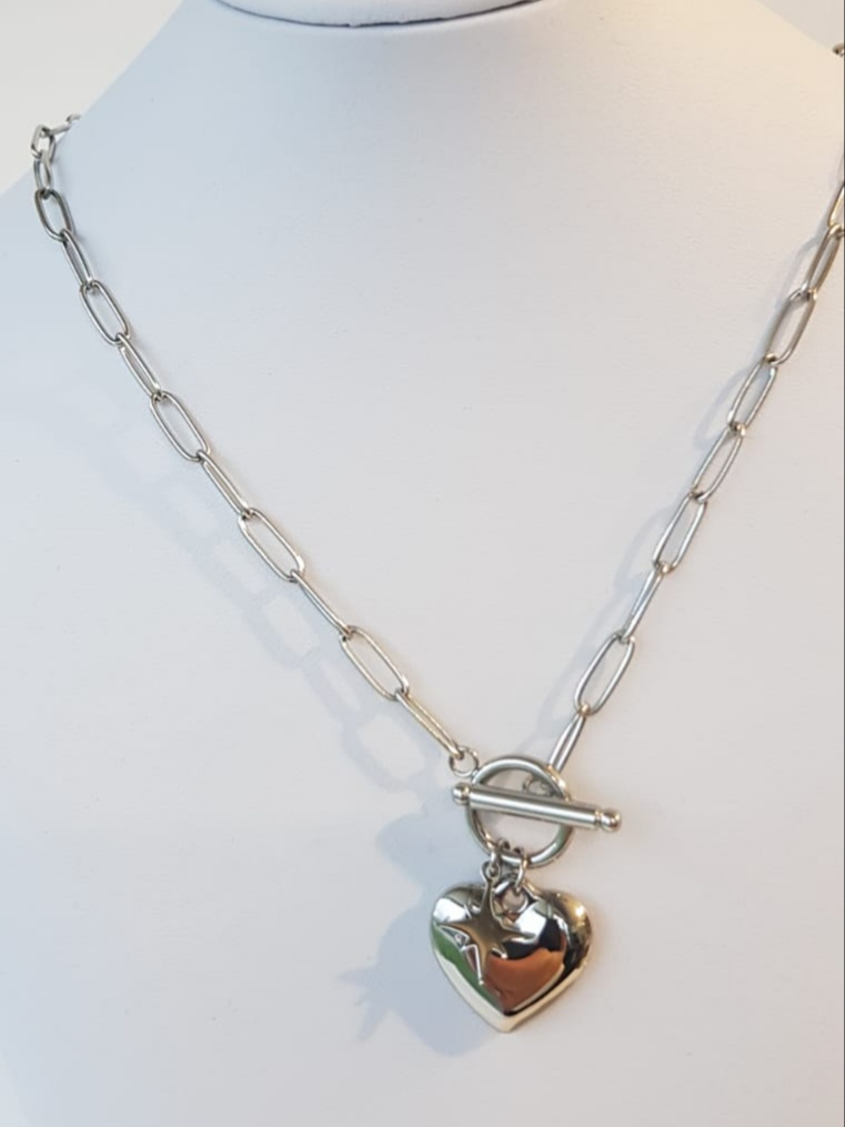 collana acciaio catena e cuore