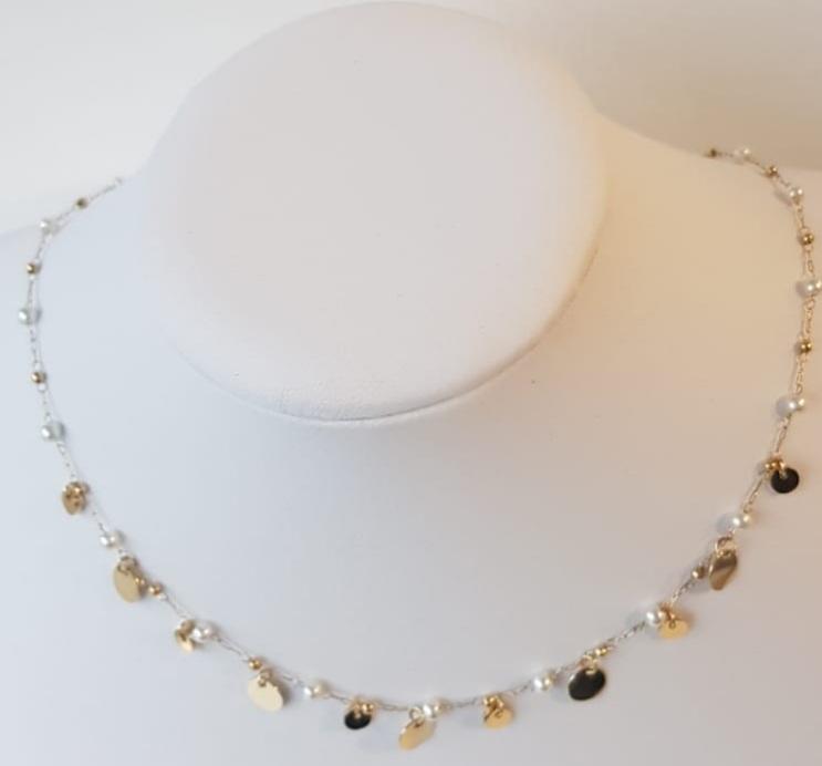 collana acciaio perle vetro rondini