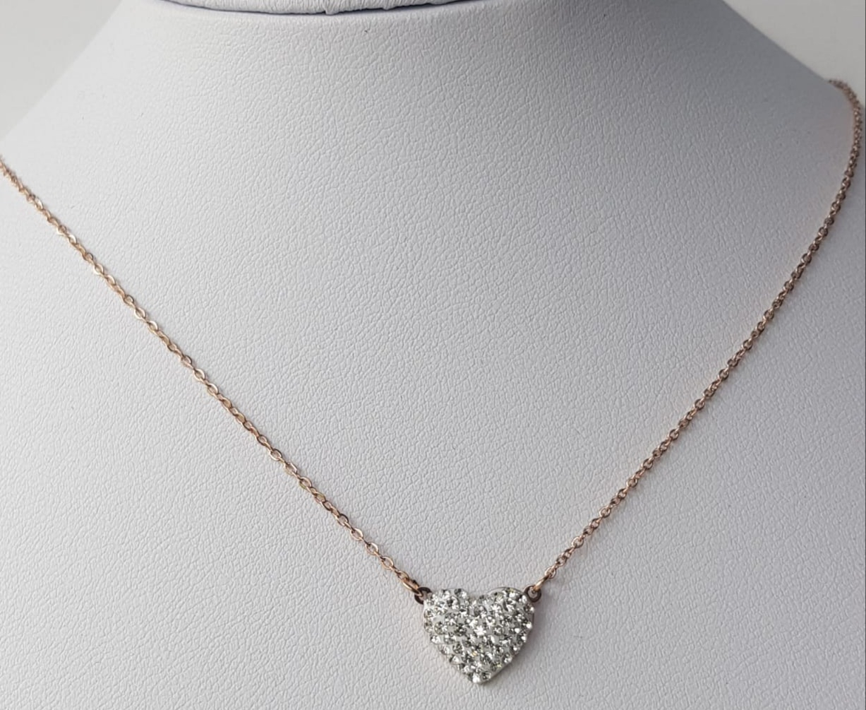collana acciaio rosato cuore strass bianco