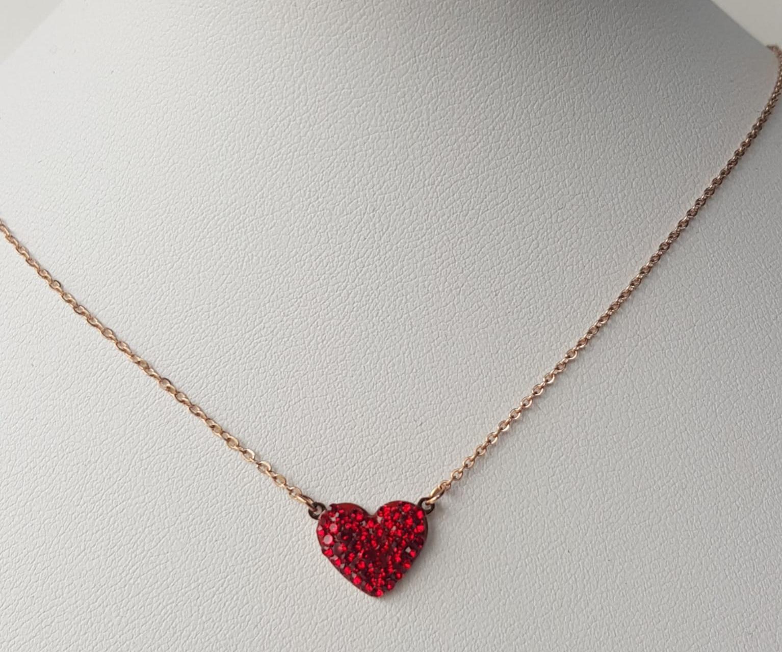 collana acciaio rosato cuore strass rosso