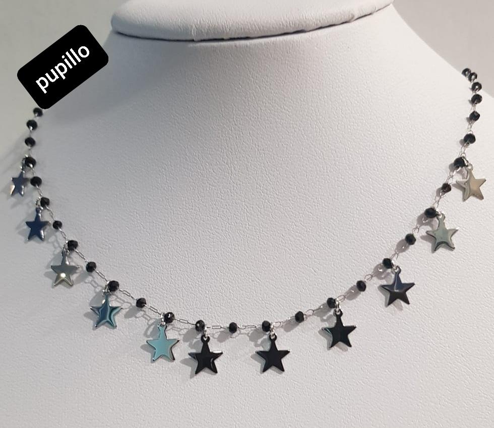 collana acciaio stelle perle netro  vetro