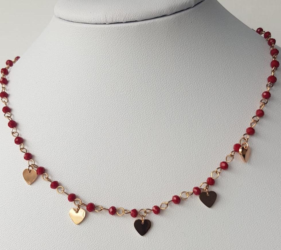 collana acciaio rosato cuore perle rosse vetro
